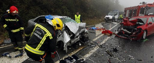 Accidente en la N-634, registrado en 2011. (José Mª Álvez)
