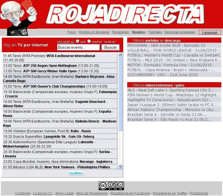 Captura de la web rojadirecta.me