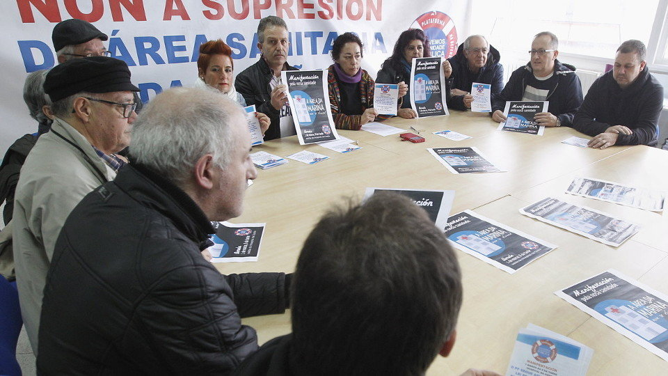 Rolda de prensa da Plataforma sanitaria en Burela. JOSÉ Mª ÁLVEZ