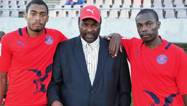 Jomo Sono (head coach) of Jomo Cosmos and his sons Matsilele Sono and Bamuza Sono of Jomo Cosmos during the National First Division game between  FC Cape Town and Jomo Cosmos at NNK Rugby Stadium in Cape Town on 4 May 2013 ©Ryan Wilkisky/BackpagePix