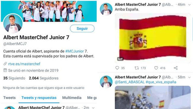 Captura das mensaxes publicadas na conta do concursante de 'Masterchef Junior 7'. TWITTER