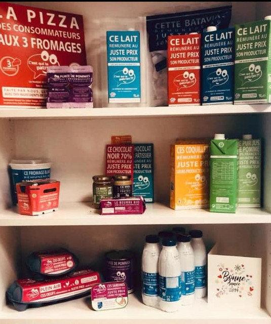 Algunos de los productos de la iniciativa C'est qui le patron en Francia. EP